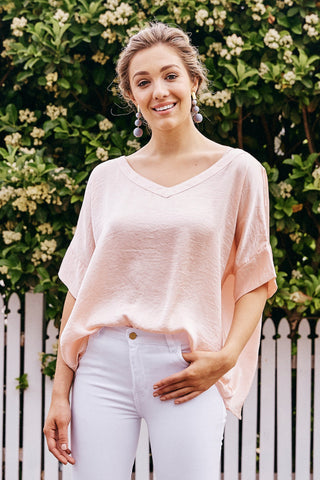 Bianca Top Blush with V Neck