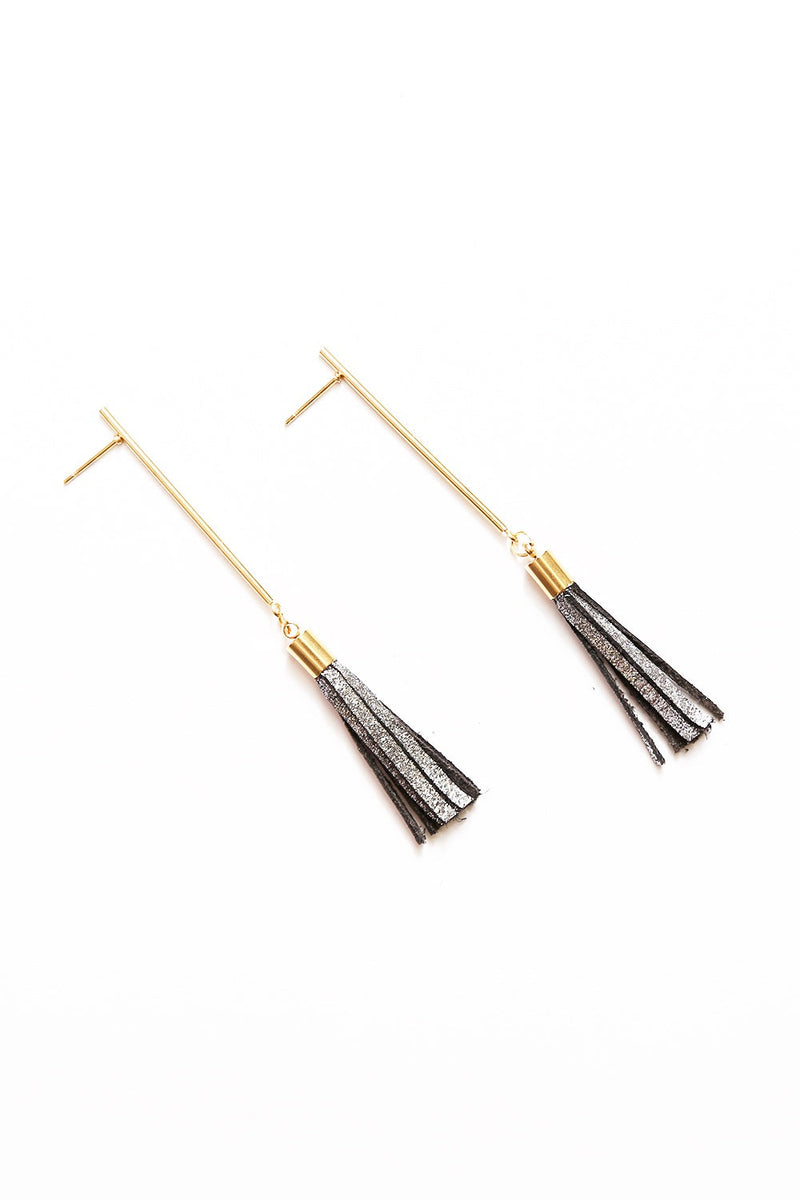 Eve Leather Tassel Earrings Dark Grey Metallic