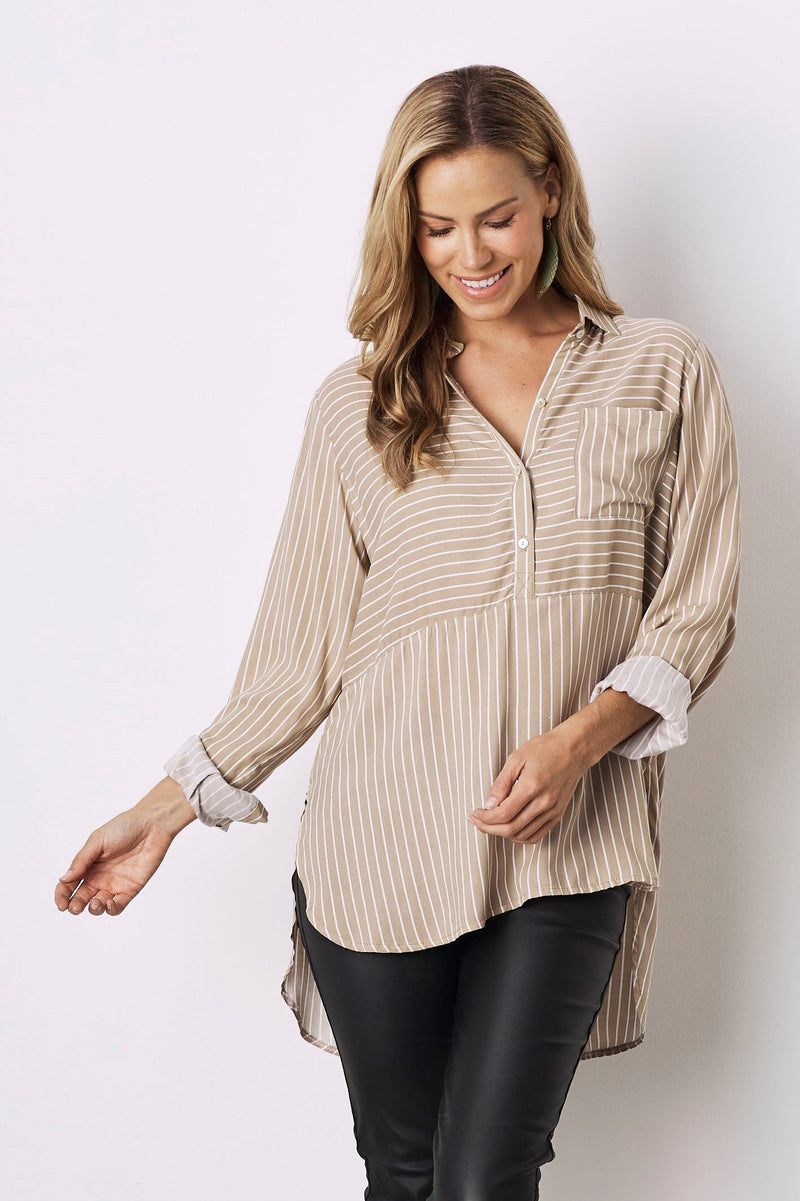 Ella Long Sleeve Collared Shirt Beige With White Stripes