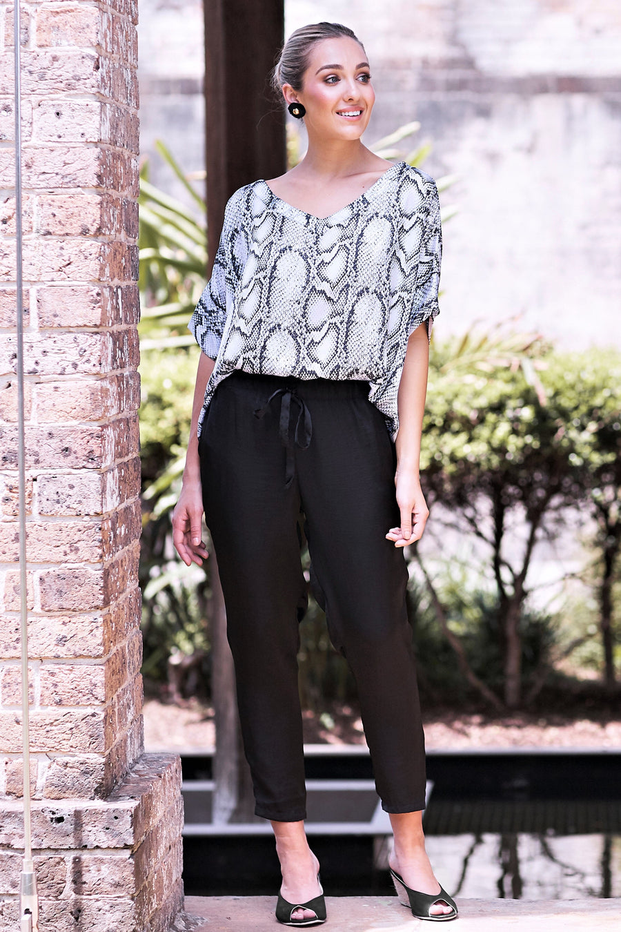 Grey Python Top V Neck