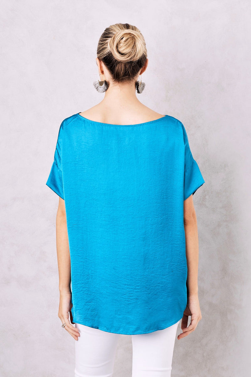 Bianca Short Sleeve Top Royal Blue with V Neck