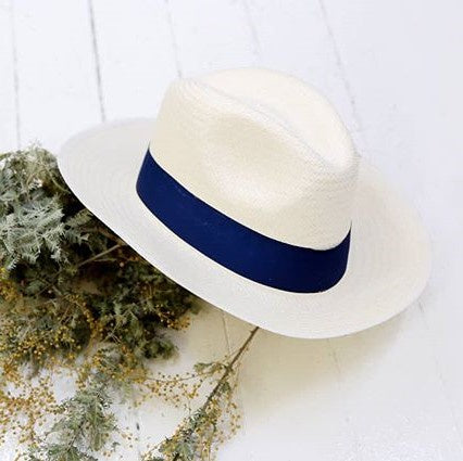 Panama Hat with Navy Strap