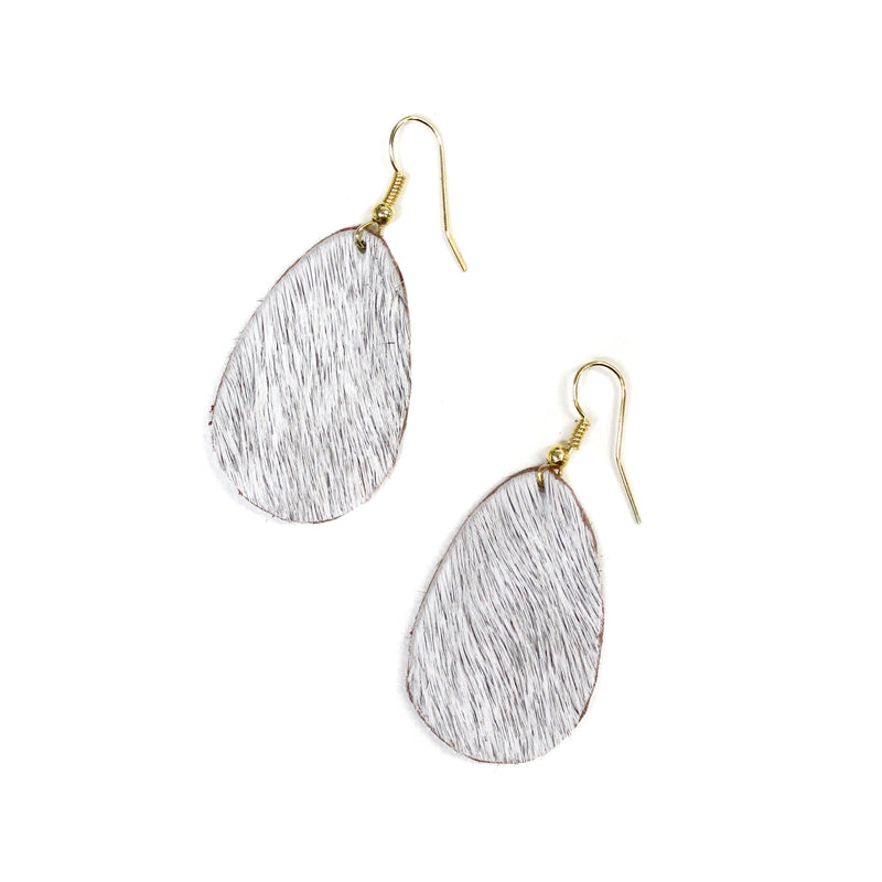 Anika Leather Earrings Natural Cowhide