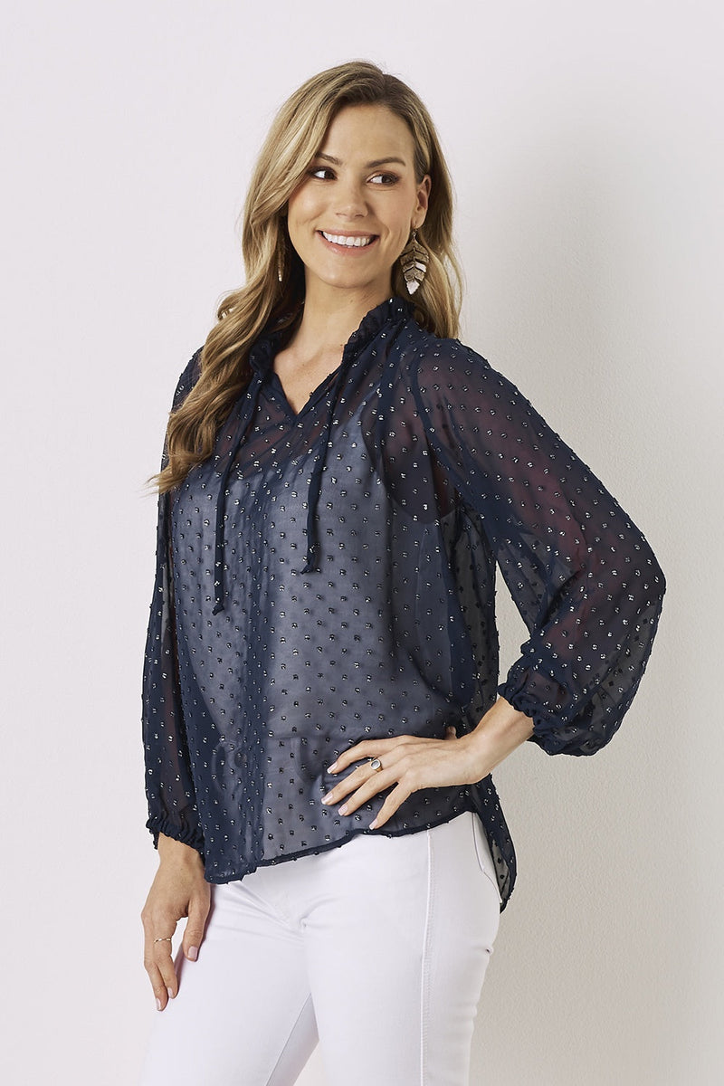 Ali Long Sleeve Blouse Navy