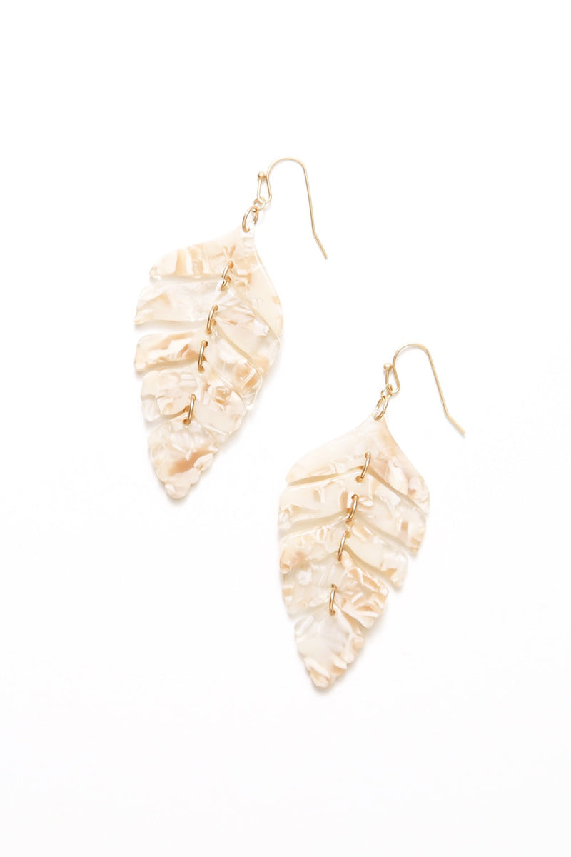 Cassia Resin Earrings Toffee Leaf