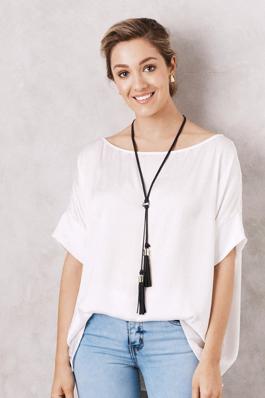 Double Tassel Leather Necklace Black Metallic