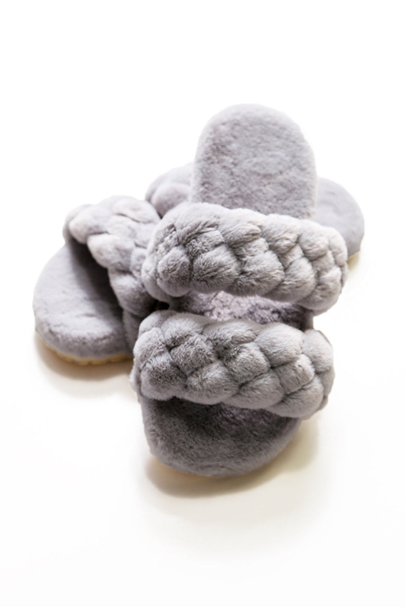 Selena Fur Slipper Slides in Grey