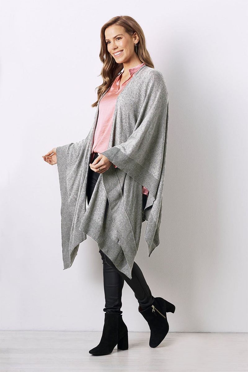 Cashmere and Wool Cape Light Grey