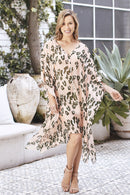Hayman Animal Print Silk Kaftan Blush with Olive