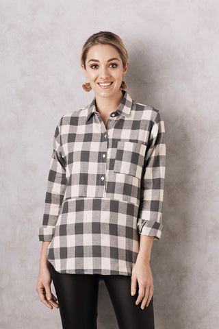 Flannel Top in Grey