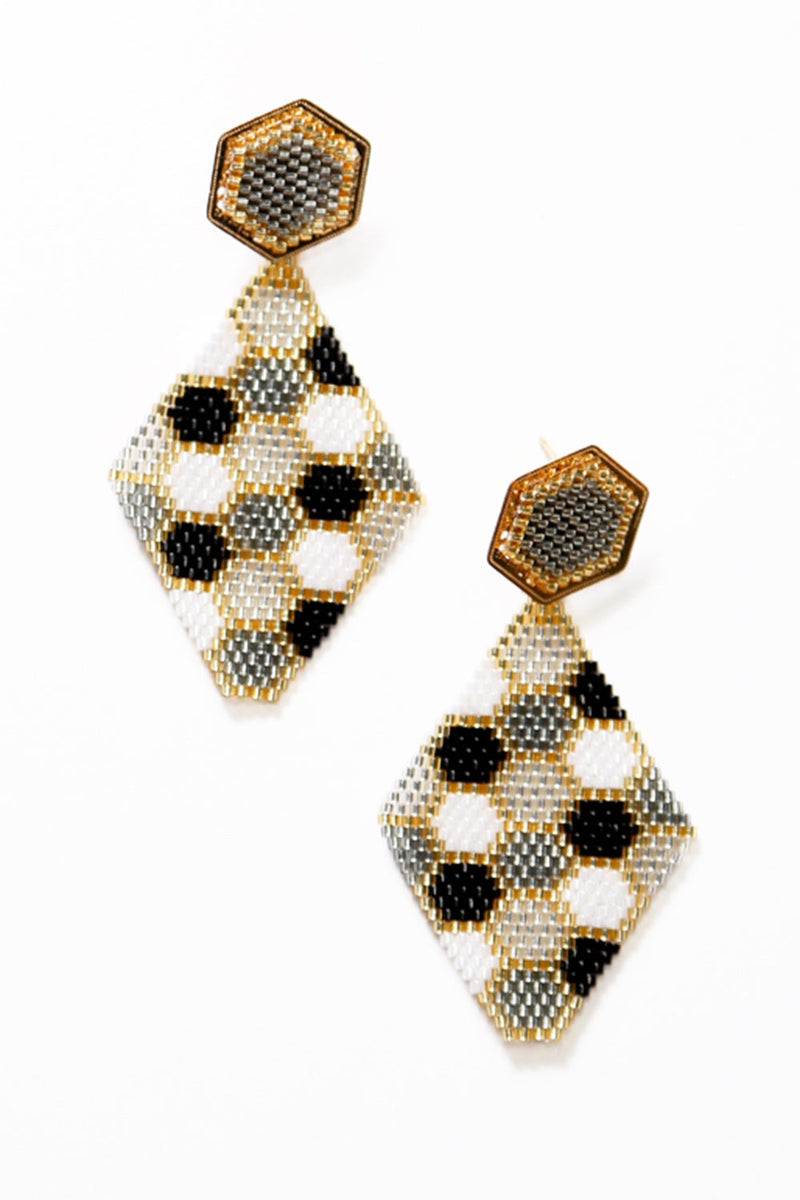Honeycomb Earrings Light Grey and Black