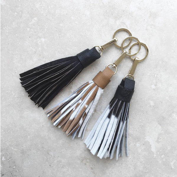 Tassel Keyring Black and White Cowhide