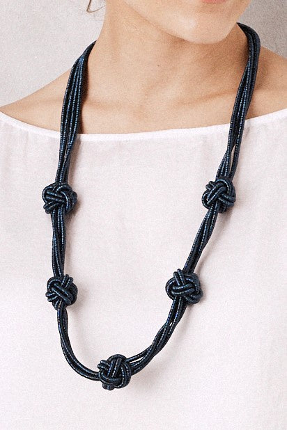 Knotted Metallic Necklace Navy