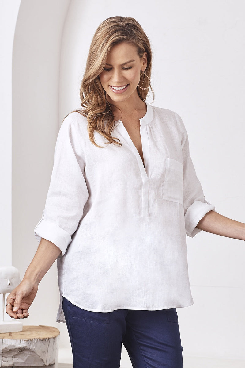 Sorrento Pure Linen Long Sleeve Top White