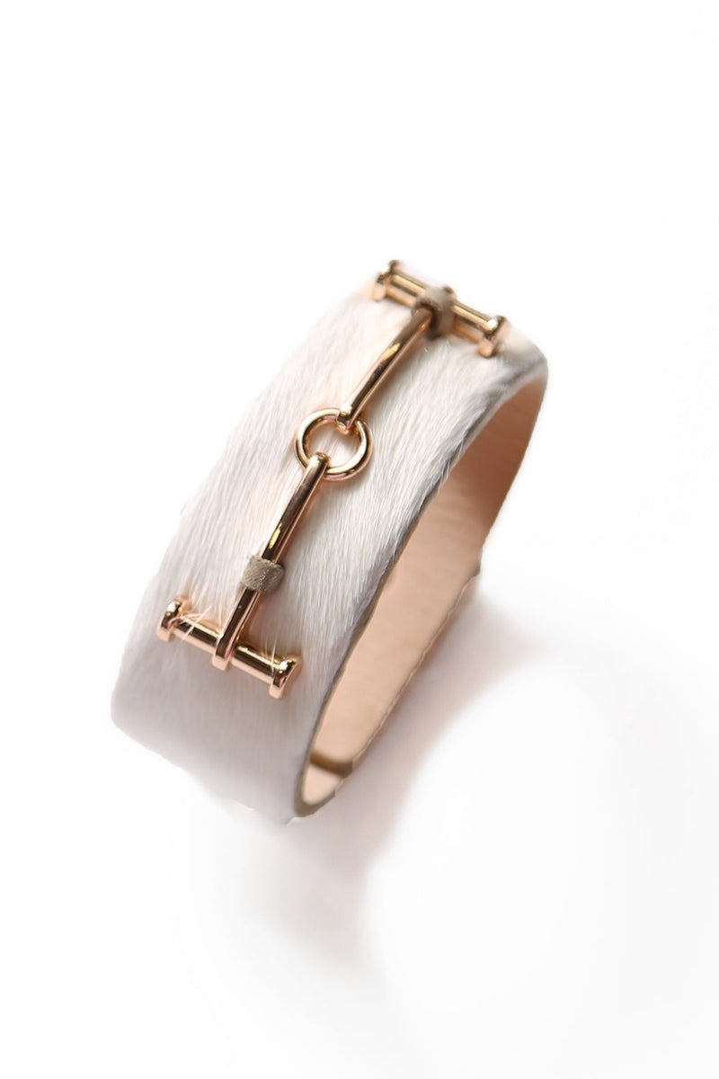 Statement Cuff White Cowhide with Gold