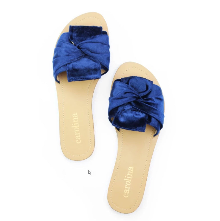 Velvet Knotted Slides Navy