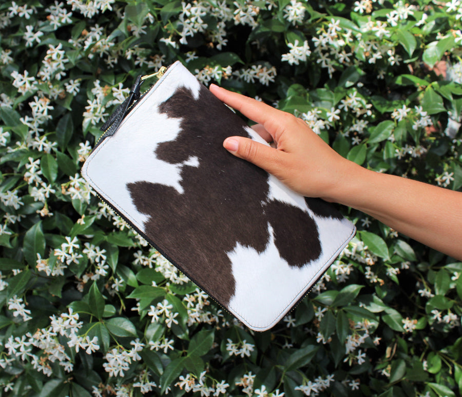 Large Travel Wallet Black and White Cowhide