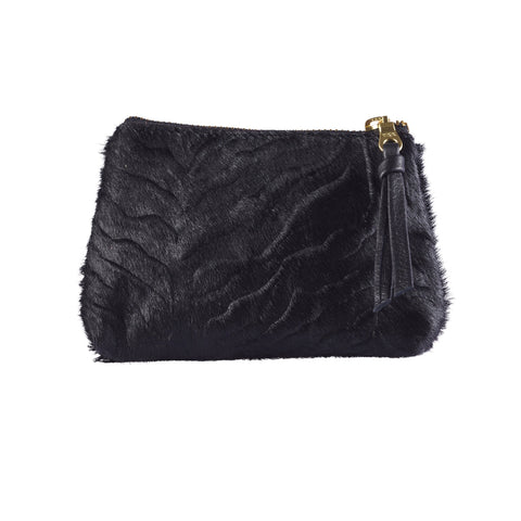 Coin Purse Textured Zebra Black