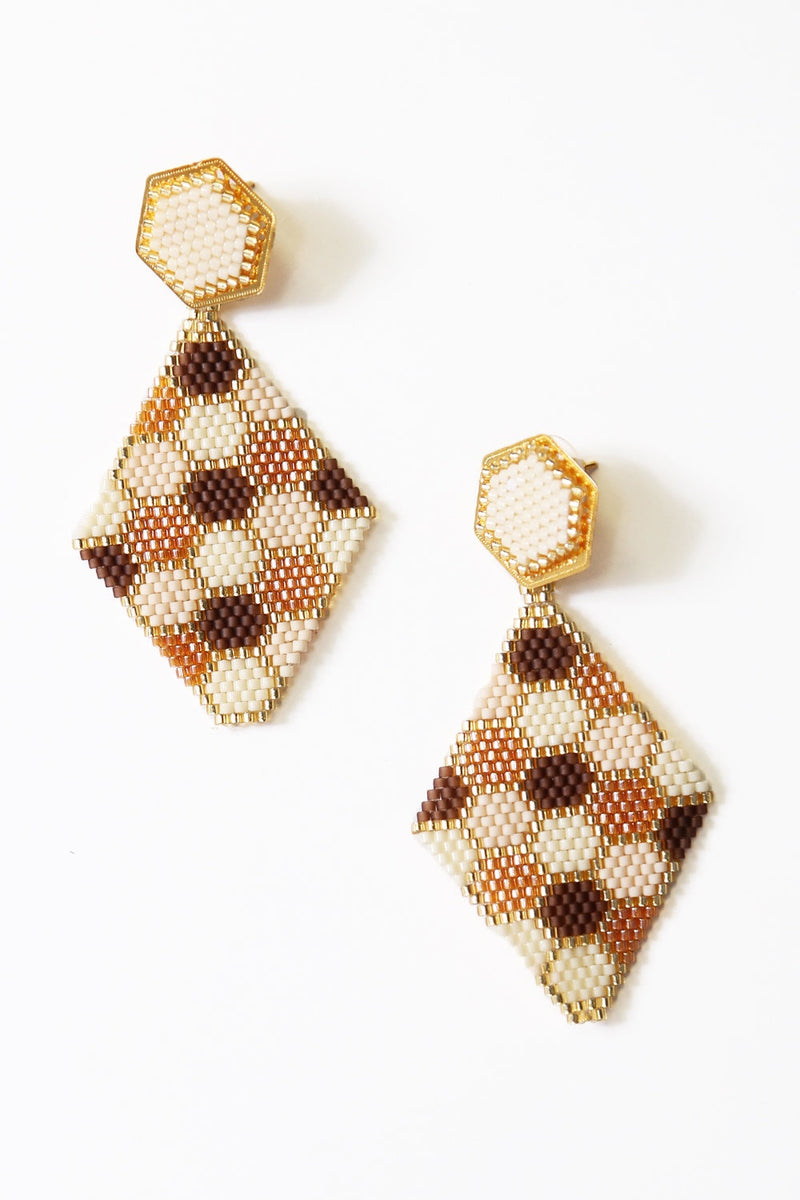 Honeycomb Earrings Ivory and Caramel