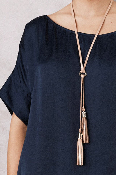 Double Tassel Leather  Necklace Rose Gold Metallic