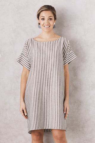 Striped Serina Dress Taupe Cotton Linen