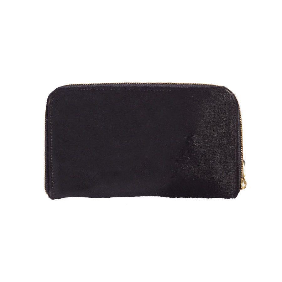 Zipper Wallet All Black Cowhide