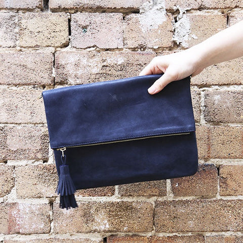 Oversized Clutch in Navy Metallic