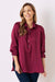 Athena Long Sleeve Collared Shirt Burgundy