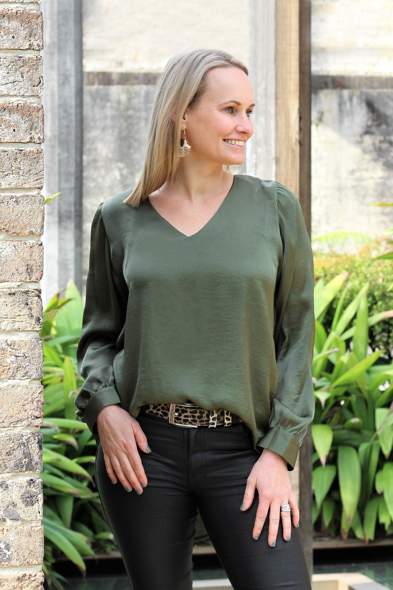 Avignon Long Sleeve Top Olive
