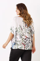 Bianca Short Sleeve Top Botanica Print with V Neck