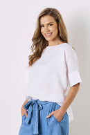 Bianca Pure Linen Short Sleeve Top White