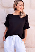 Bianca Top Cotton Linen Black