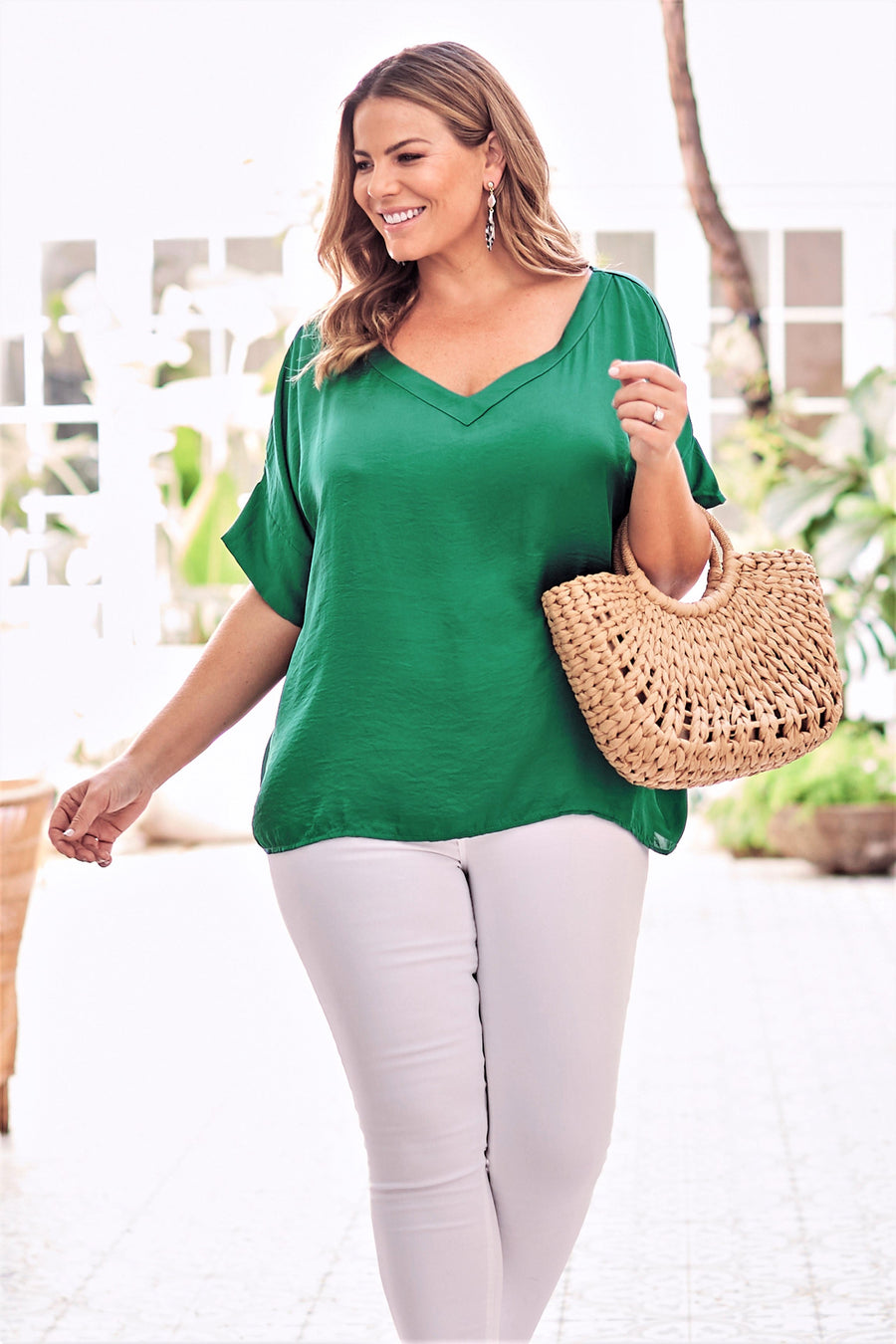 Bianca Short Sleeve Top Emerald with V Neck