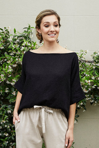Bianca Top Black Cotton Linen