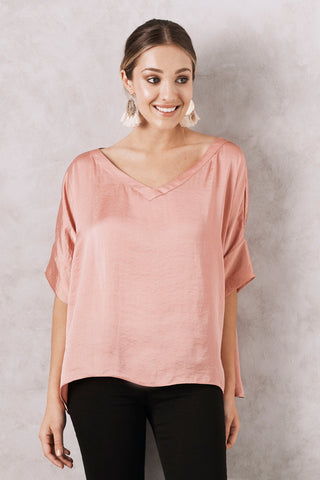 Bianca Top in Rose with V Neck