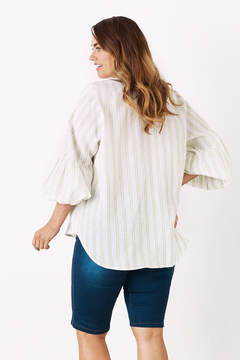 Comino Pure Linen Long Sleeve Top - Pistachio