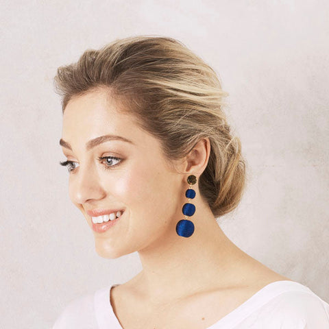 Kiara Earrings in Navy