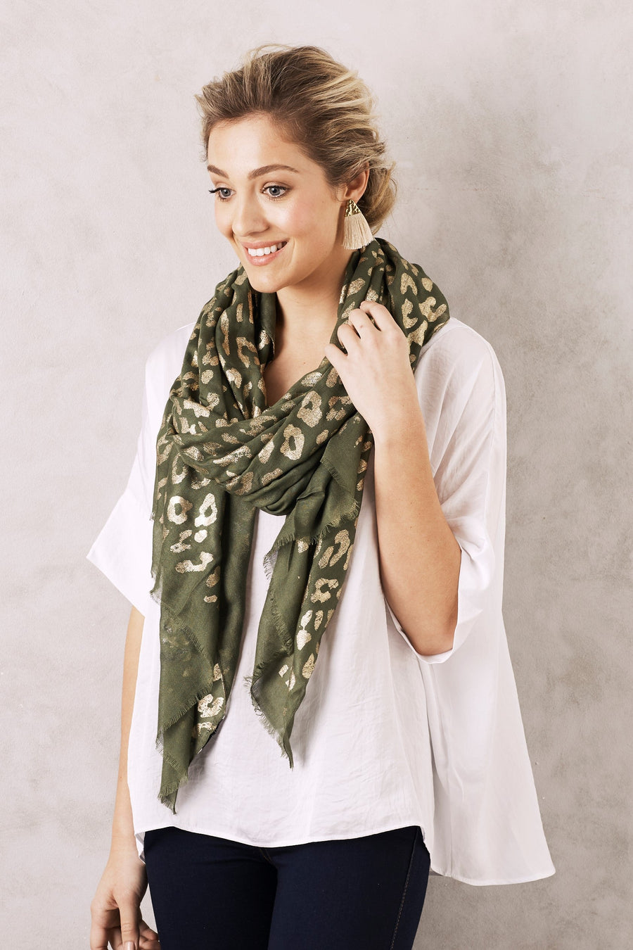 Animal Print Scarf Olive and Gold