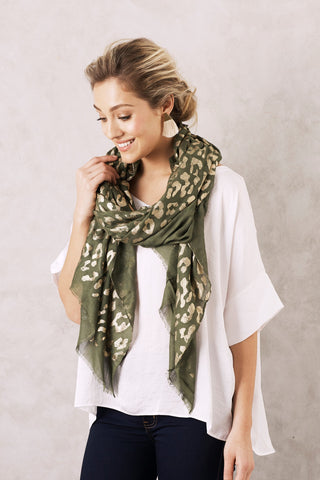 Animal Print Scarf in Olive and Gold