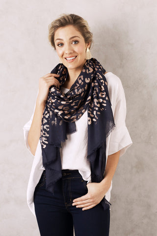 Animal Print Scarf in Navy and Rose Gold