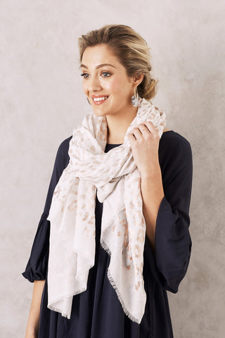 Animal Print Scarf in Cream and Rose Gold