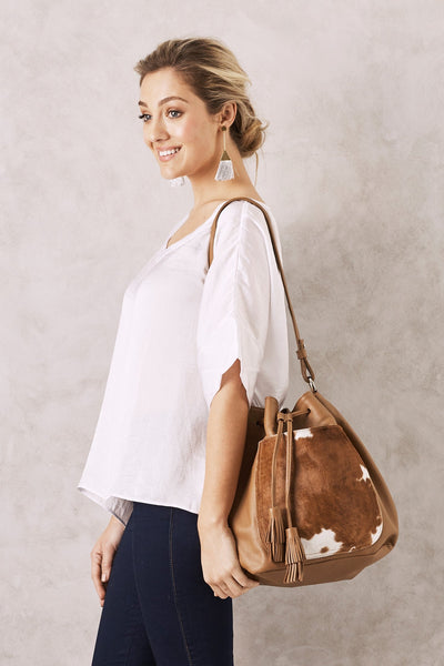 Toula Leather Handbag Tan and White cowhide