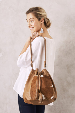 Toula Handbag in Tan and White cowhide