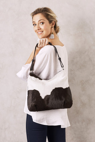 Hobo Bag in Black and White Cowhide