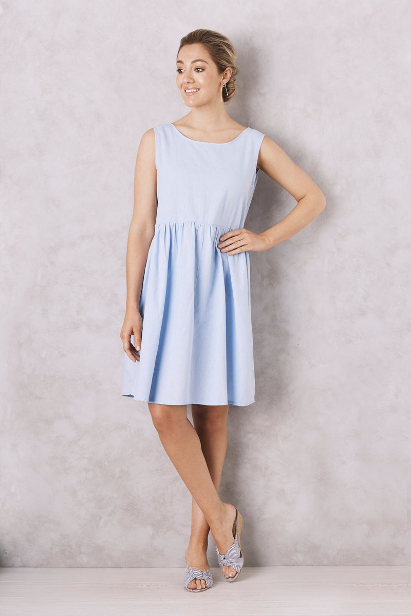 Perissa Dress Sky Blue cotton Linen