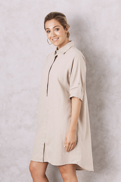 Sophia Dress Shirt Almond Cotton Linen