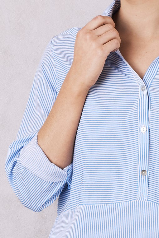 Ella Long Sleeve Collared Shirt Striped Blue