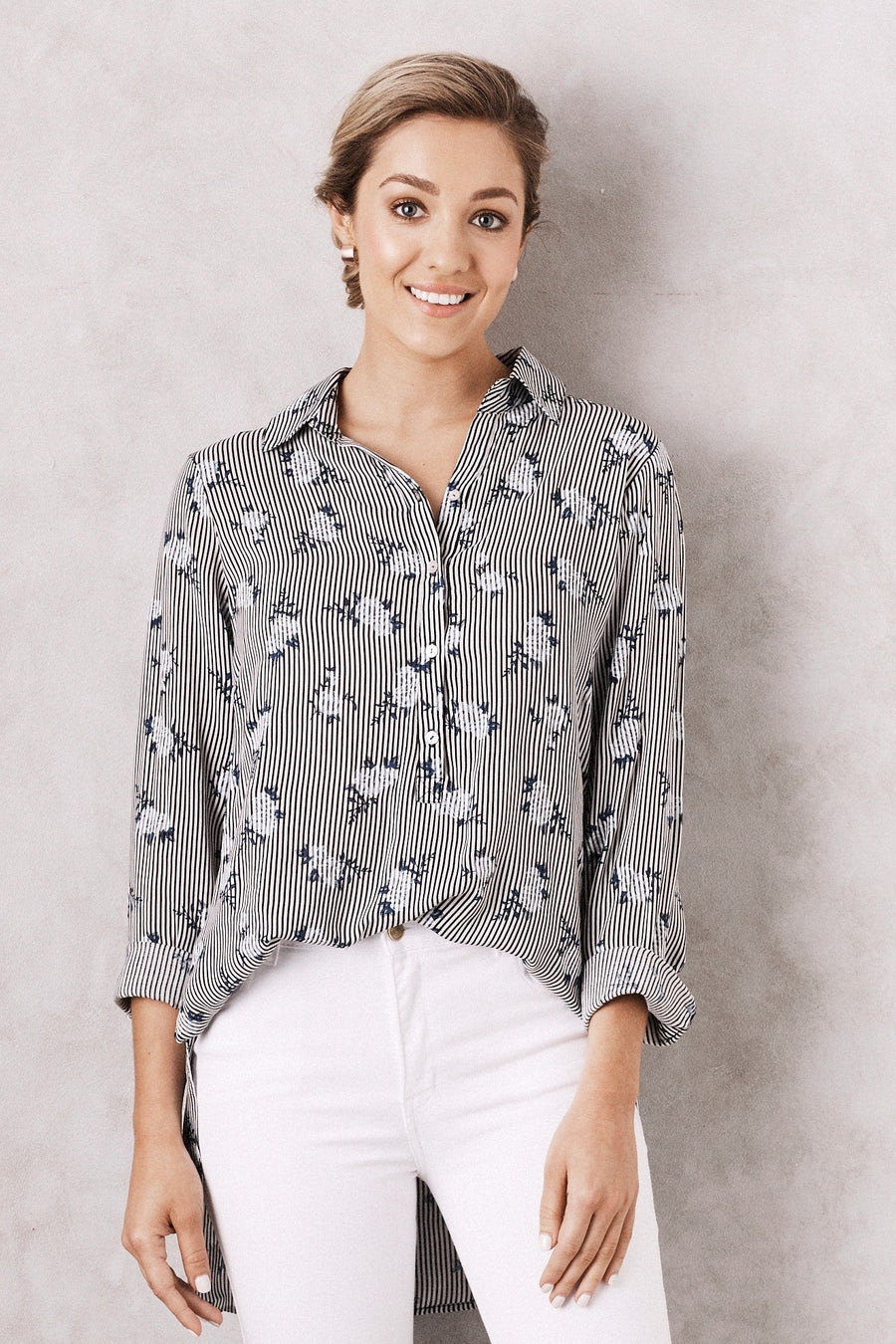 Lina Collared Shirt Floral Print