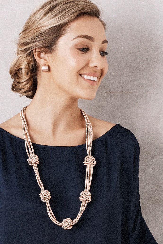 Knotted Metallic Necklace Rose Gold