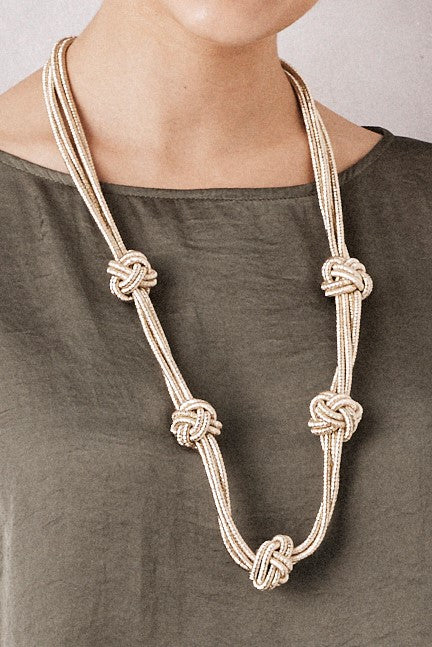Knotted Metallic Necklace Gold